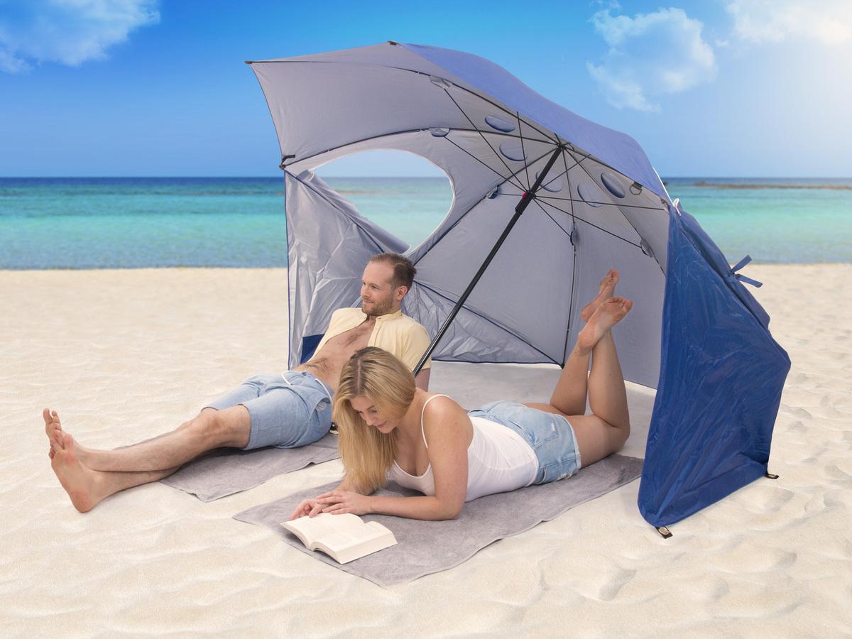 strandparasol med vindbeskyttelse
