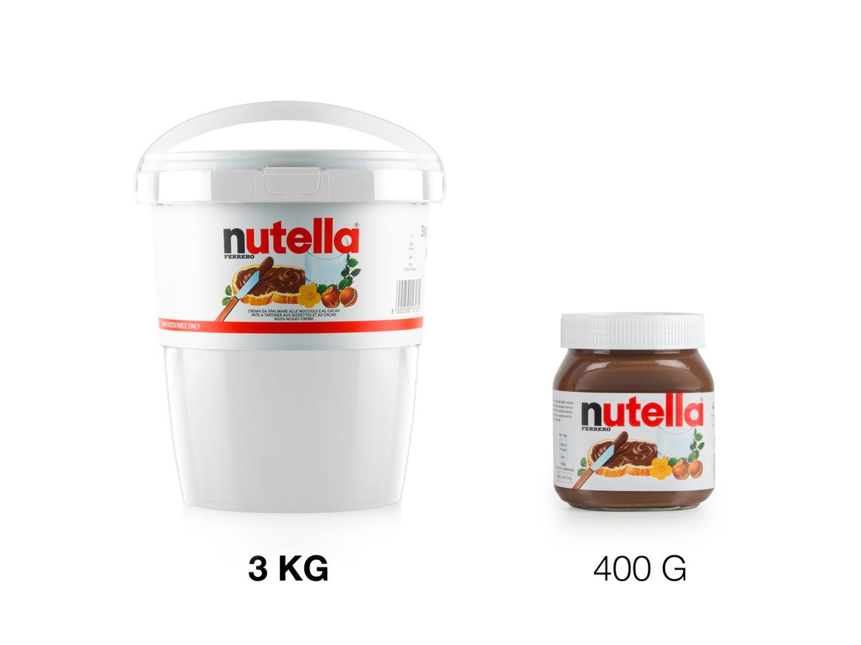 forskellen på en stor og lille nutella spand